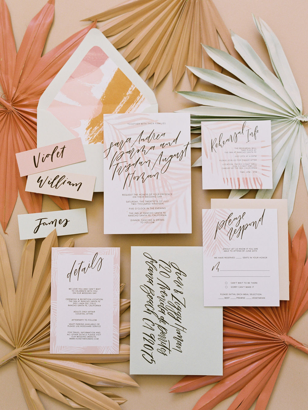 sara trisdan wedding invitations in orange and yellow tones