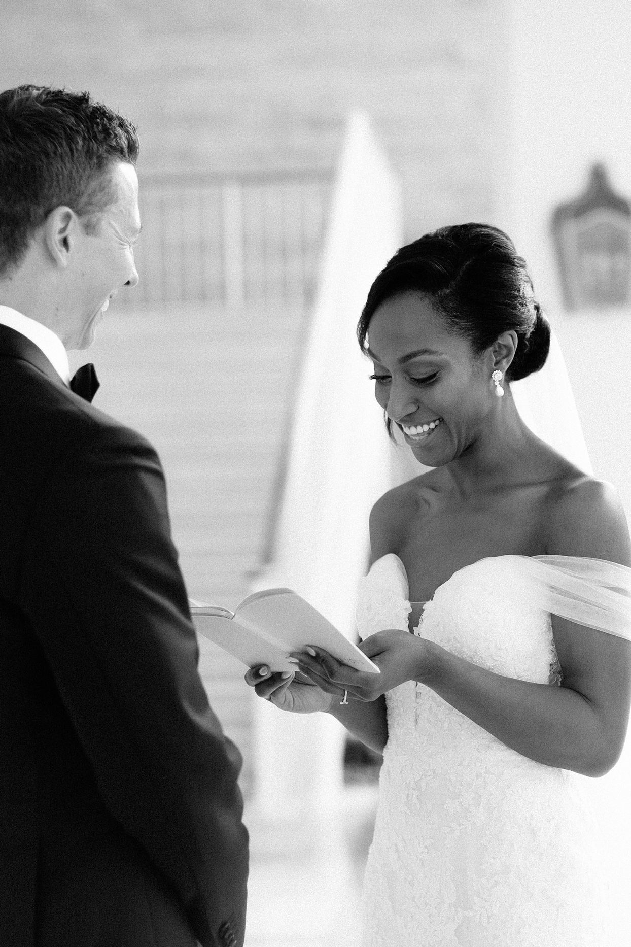 vanessa nathan wedding first look couple sharing vows