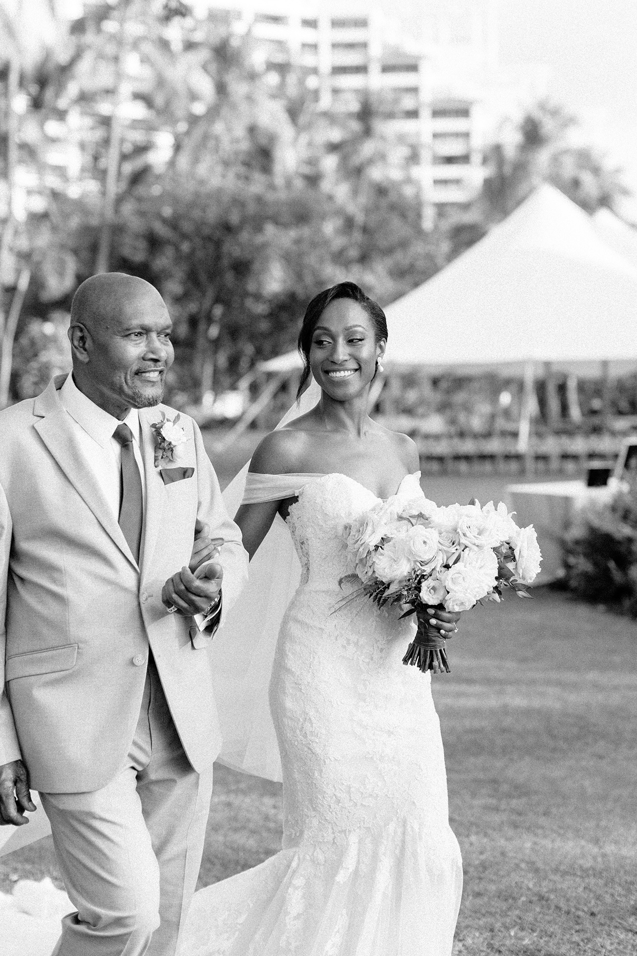vanessa nathan wedding bride and father processional