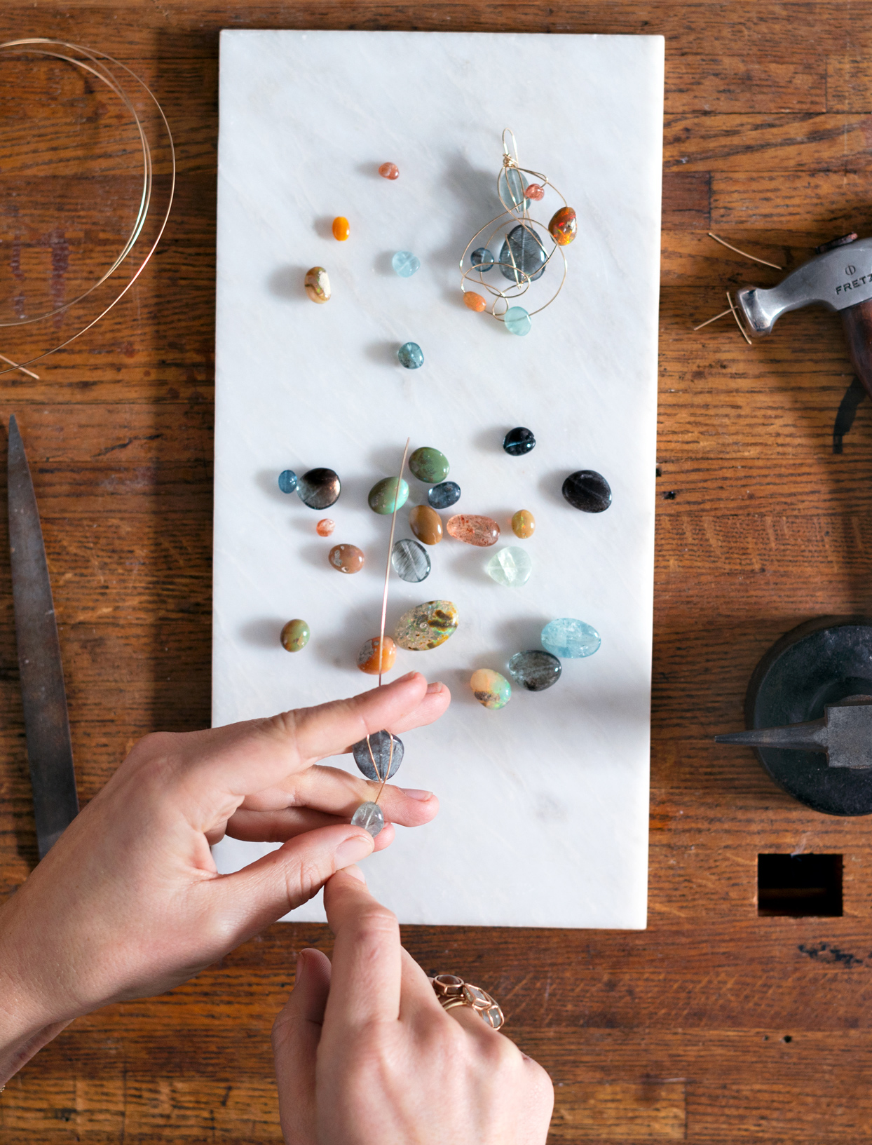 mary macgill stringing beaded gems on wire