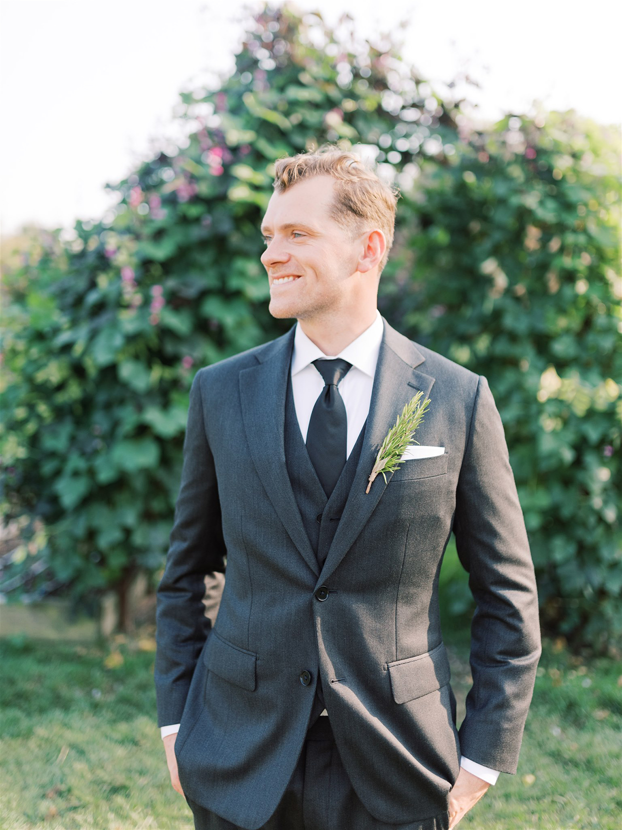 samantha cody wedding smiling groom in charcoal suit