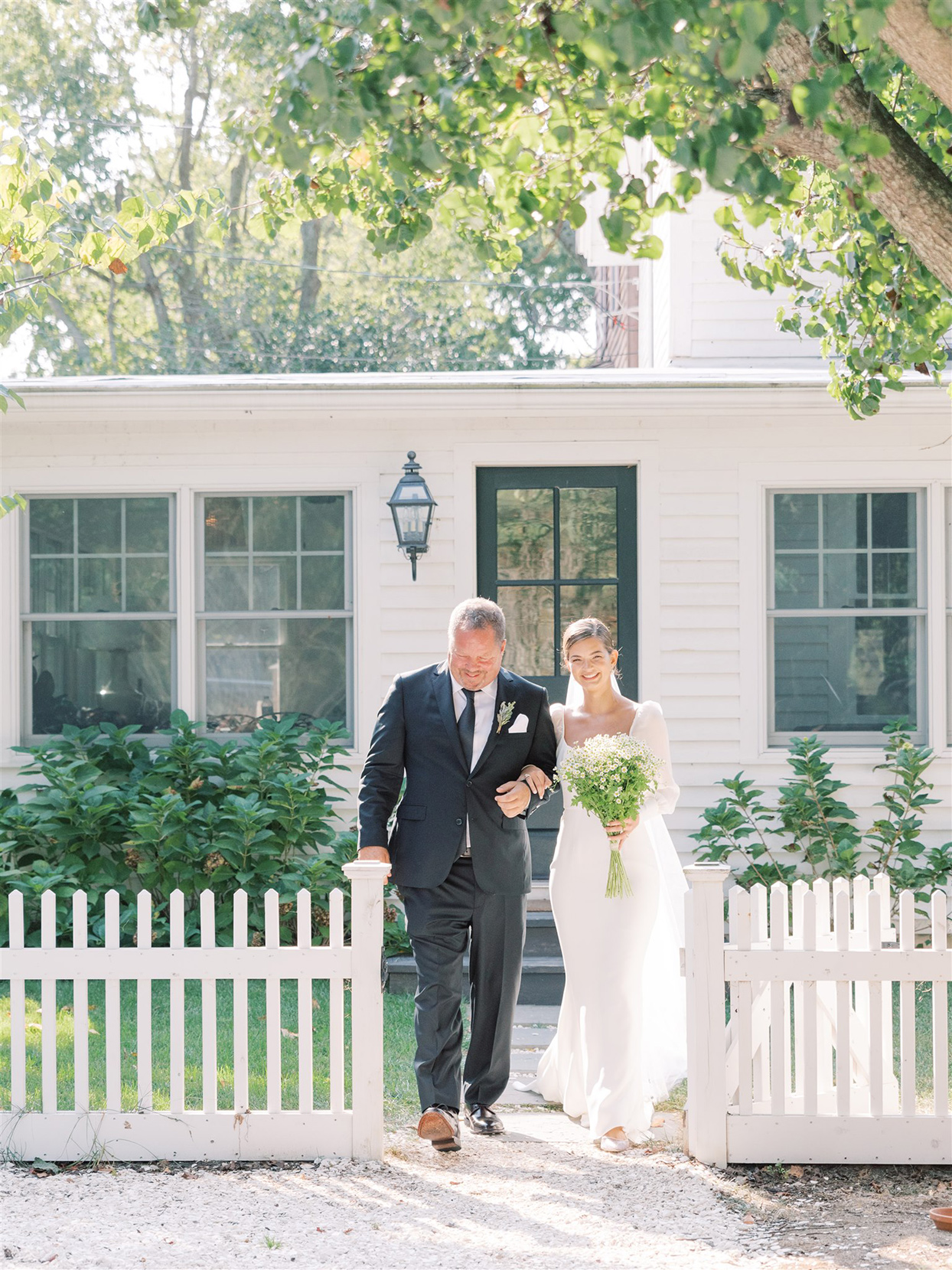samantha cody wedding bride and father processing from house