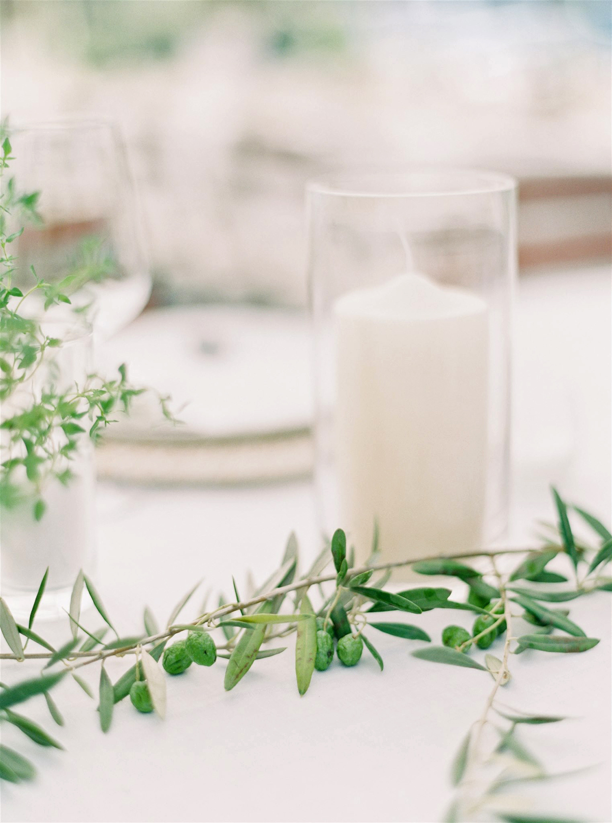 samantha cody wedding white table candle and greenery branch