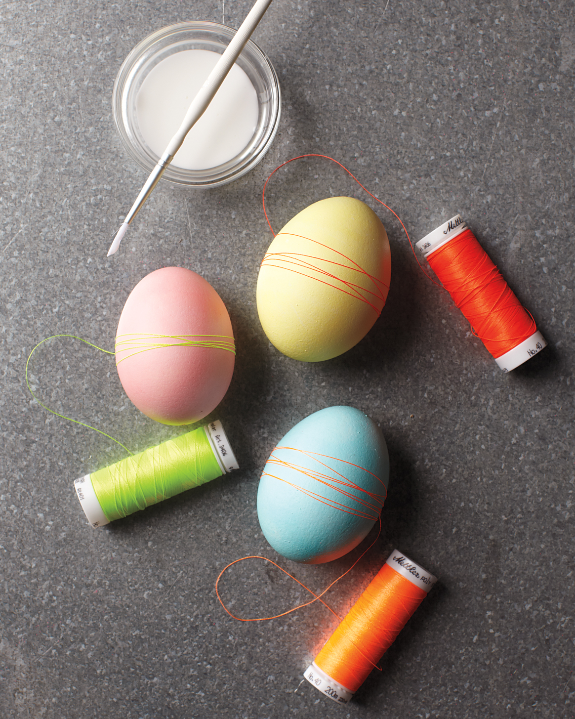 thread-wrapped Easter eggs