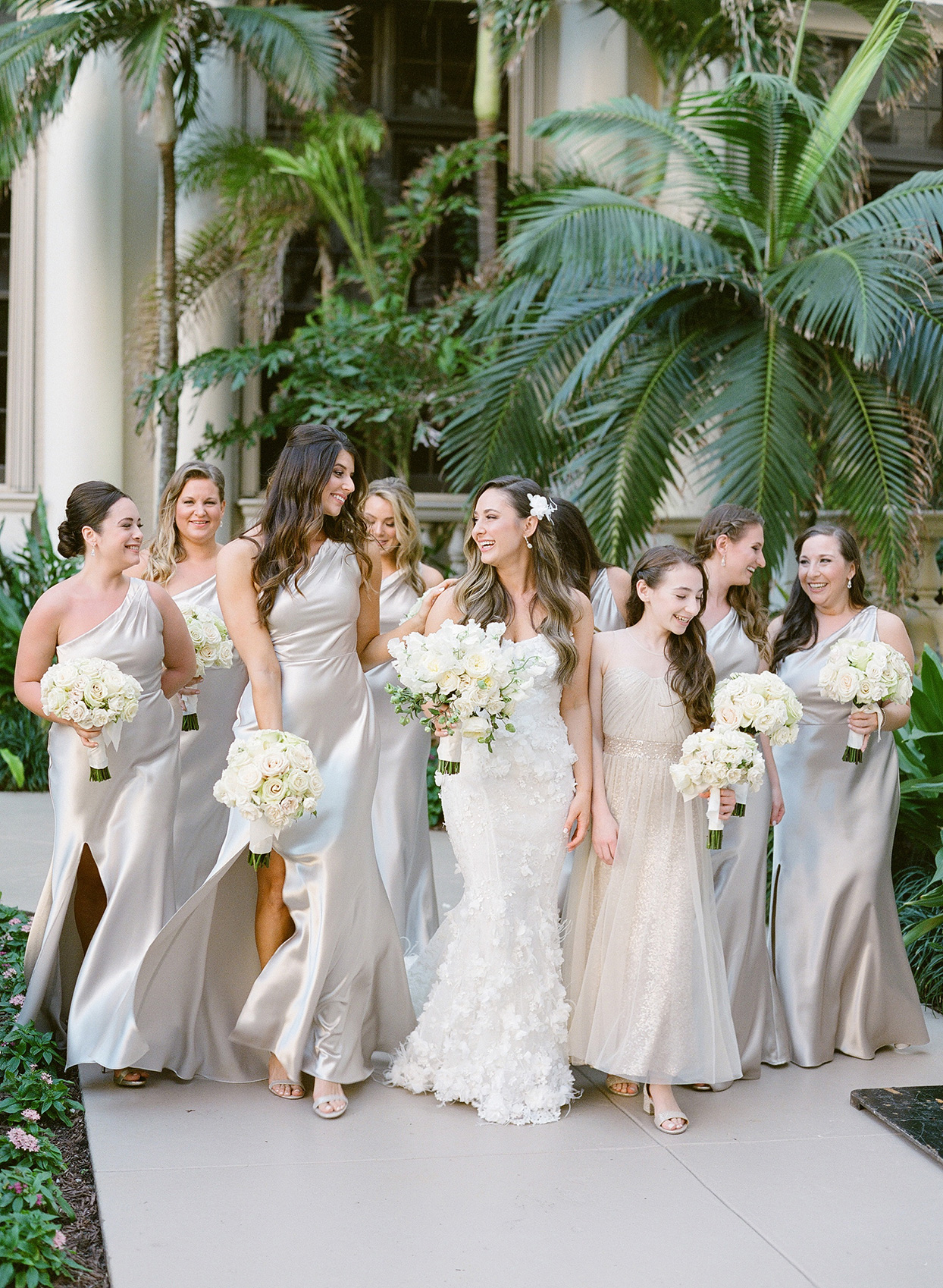 brittany brian wedding bride and maids in pastel