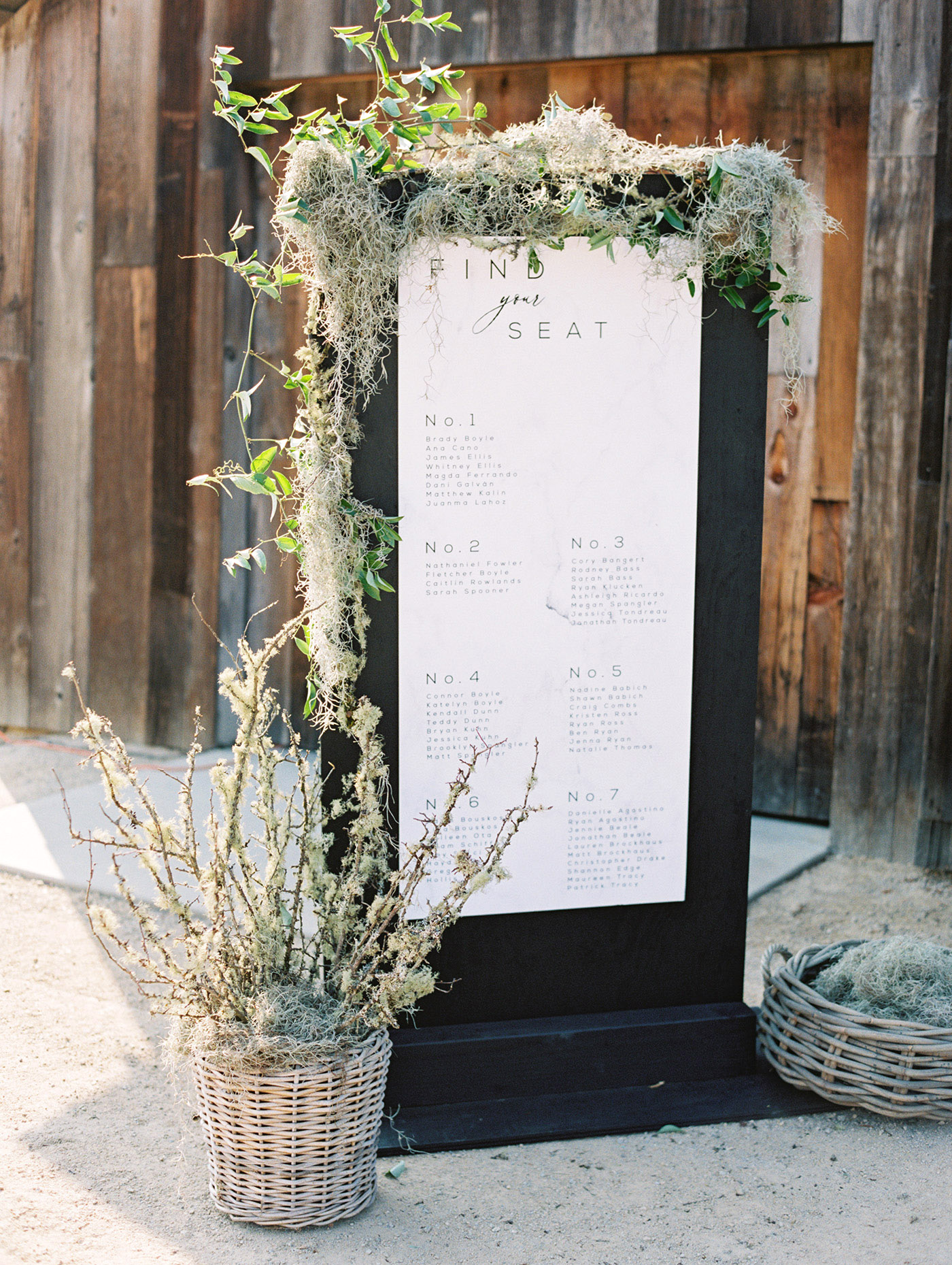 Caitlin and Fletcher wedding seating chart