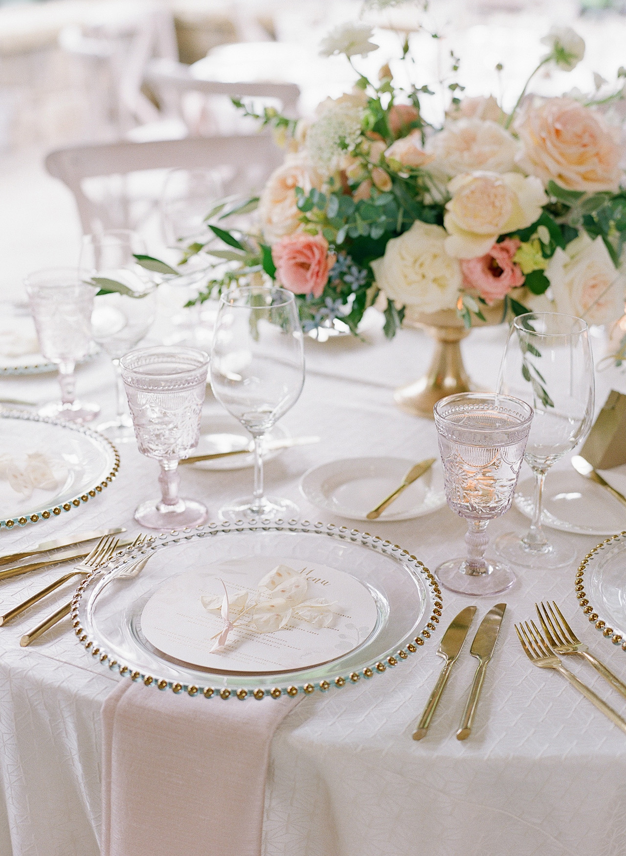 adrienne will wedding place settings reception tables