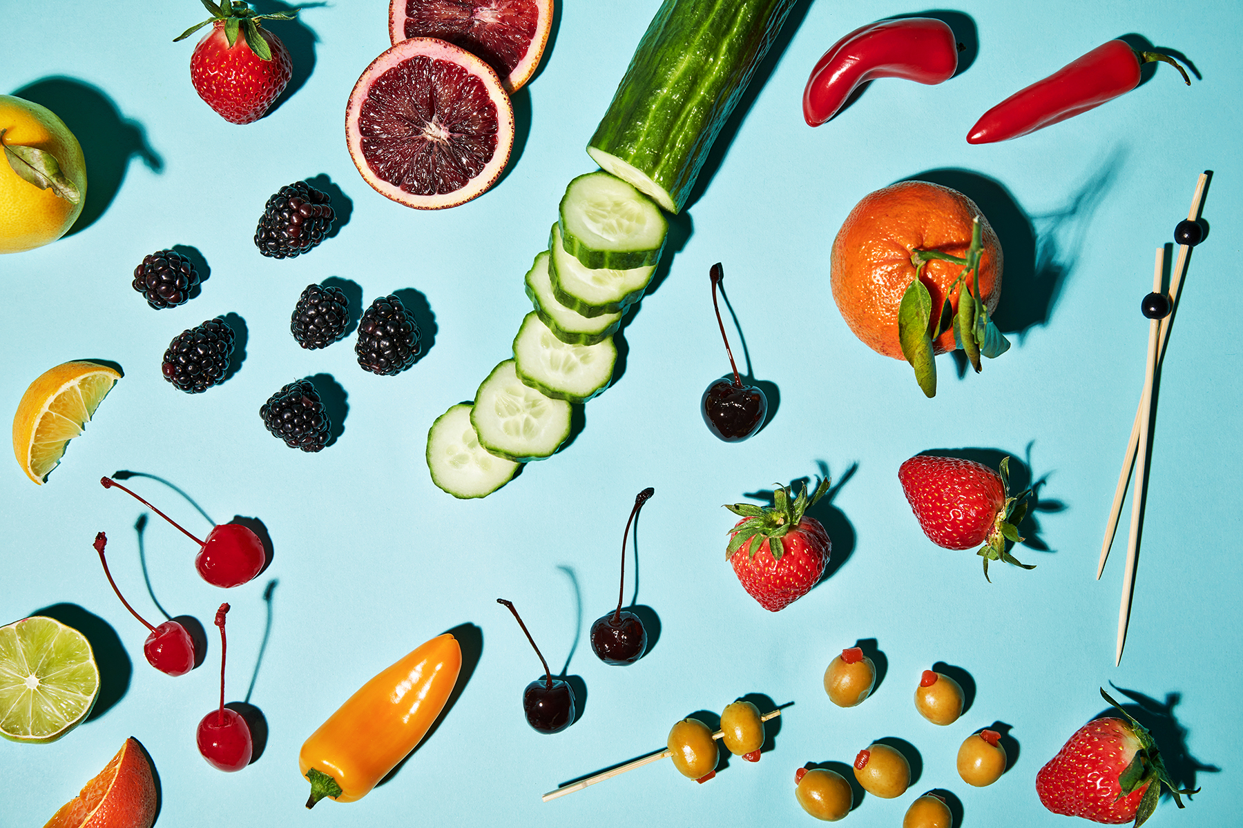 fruits and vegetables for cocktail garnishes