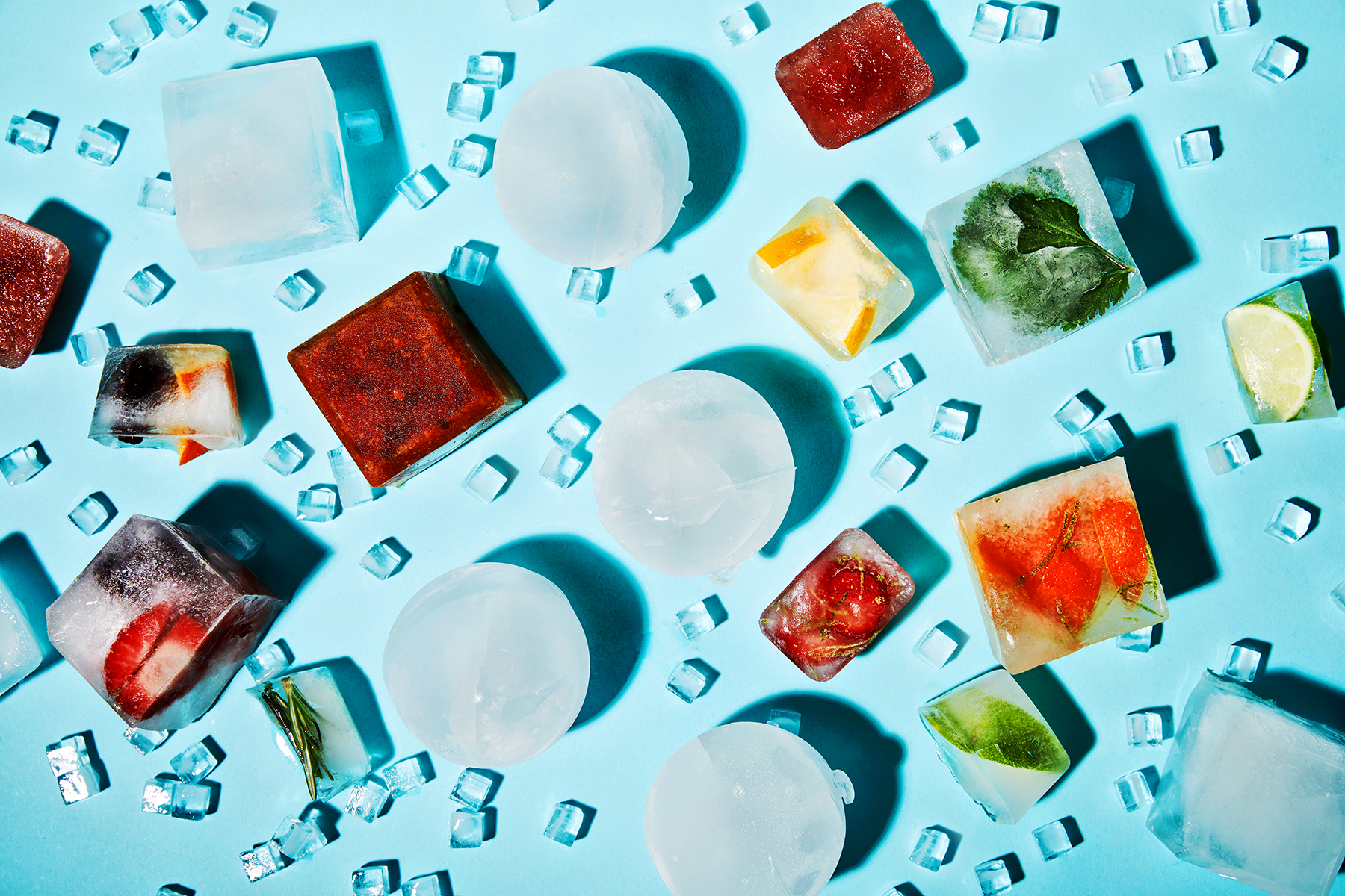 spherical ice cubes and infused ice cubes