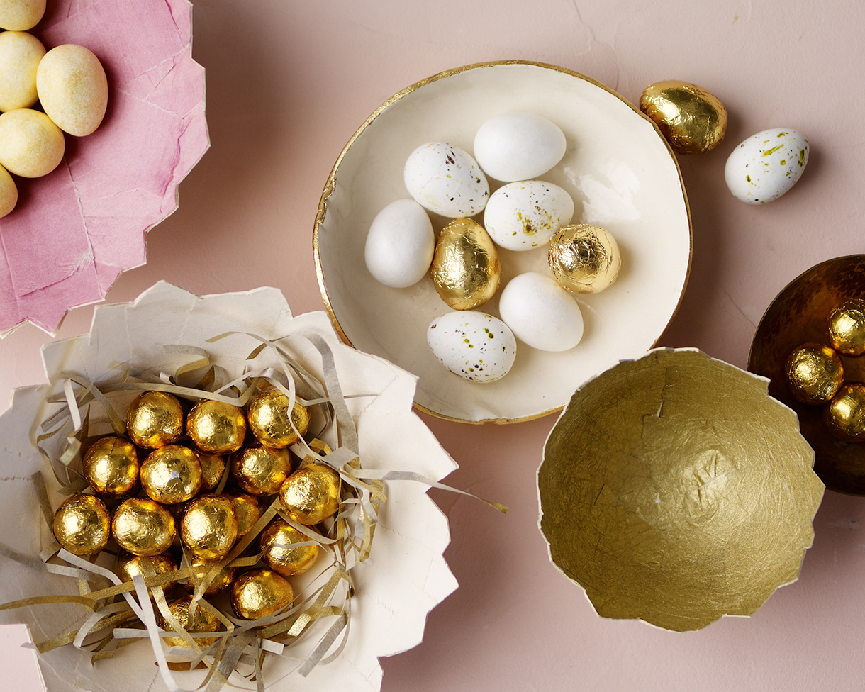 decorated Easter eggs in cracked shells