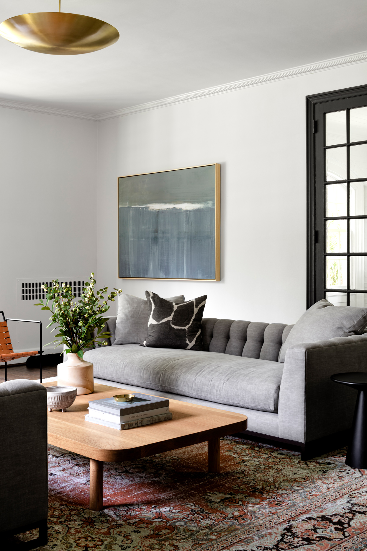 grey couch wall decor modern space