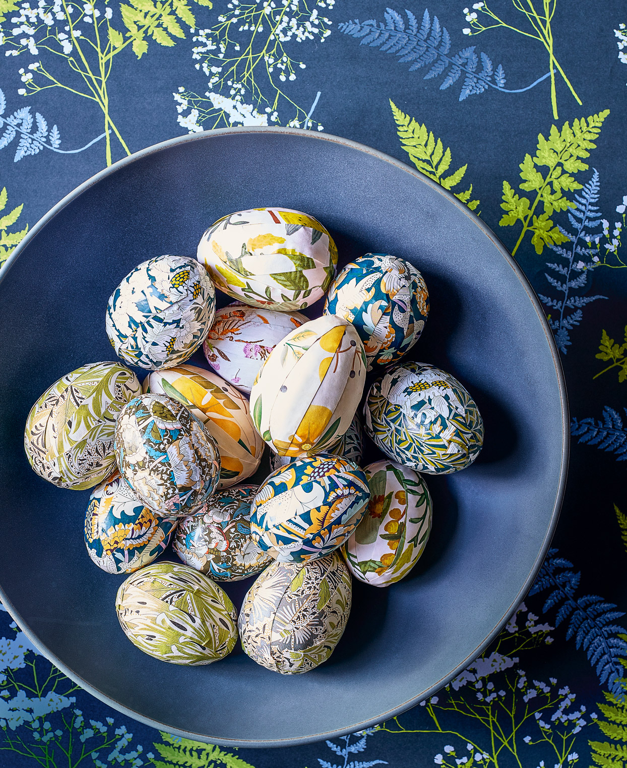 decoupaged Easter eggs in a bowl