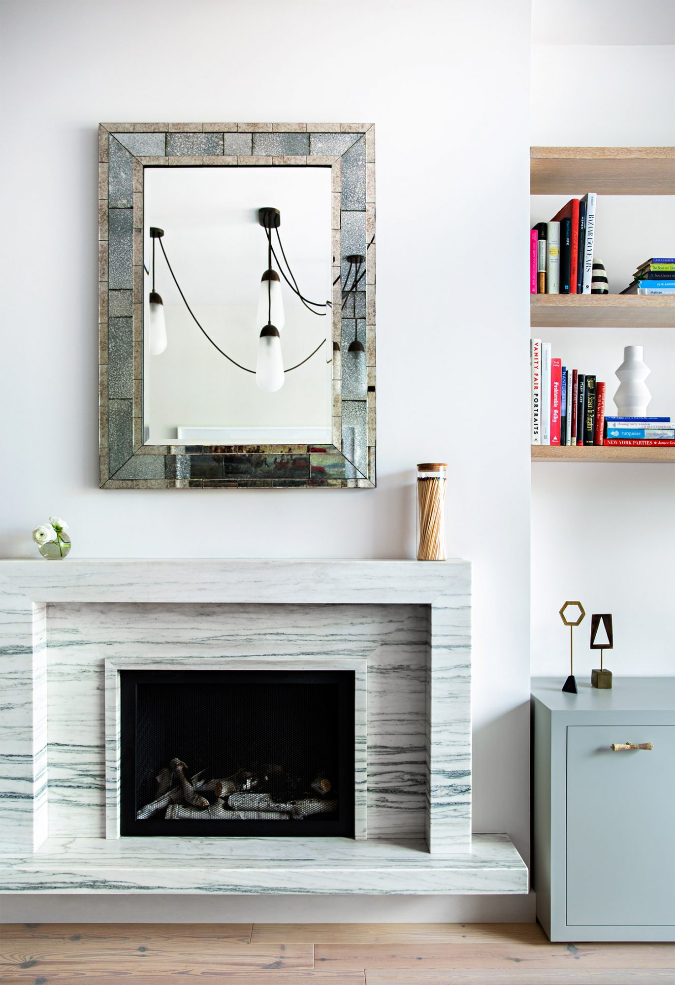 fireplace surround marble and art objects