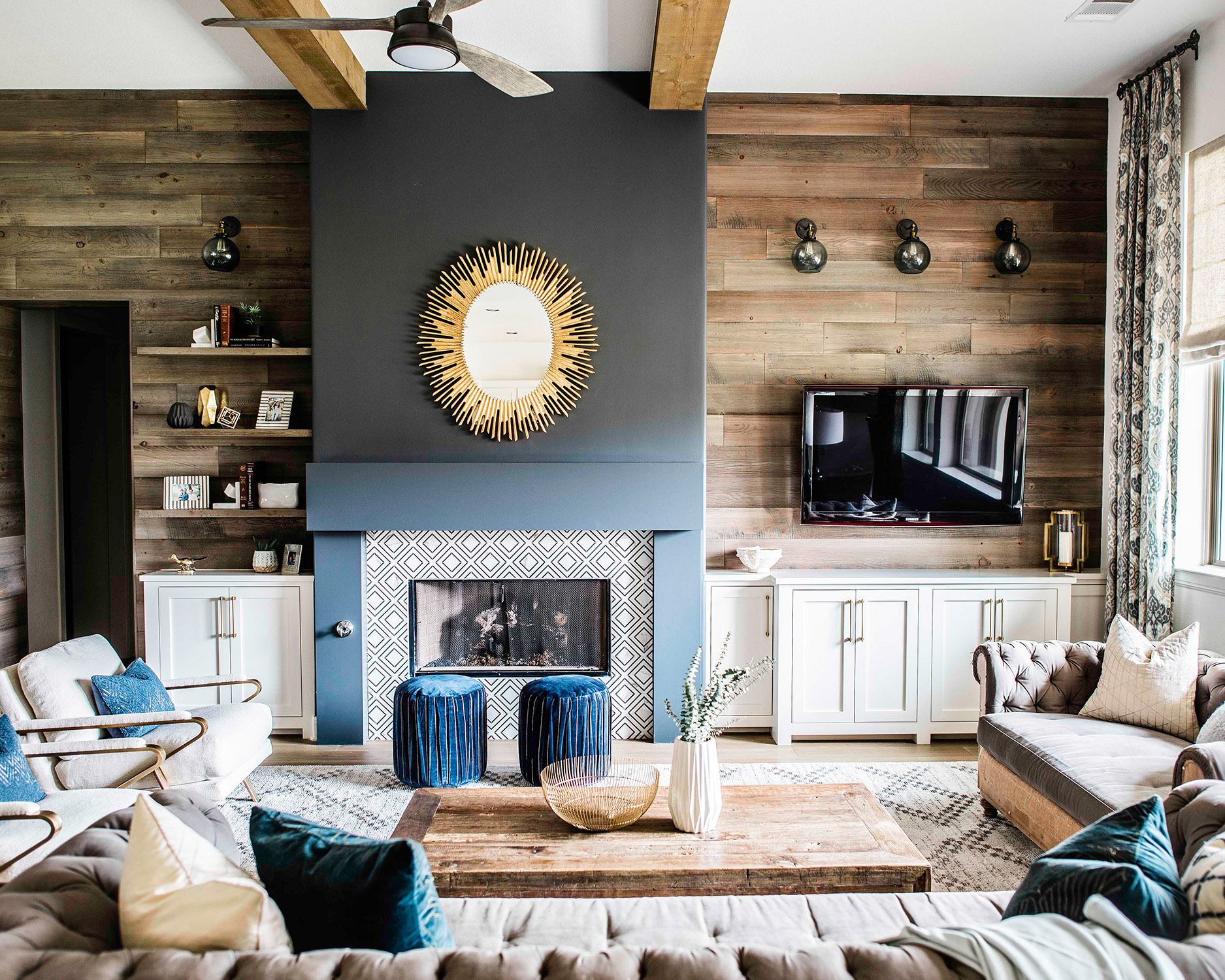 fireplace surround in blue