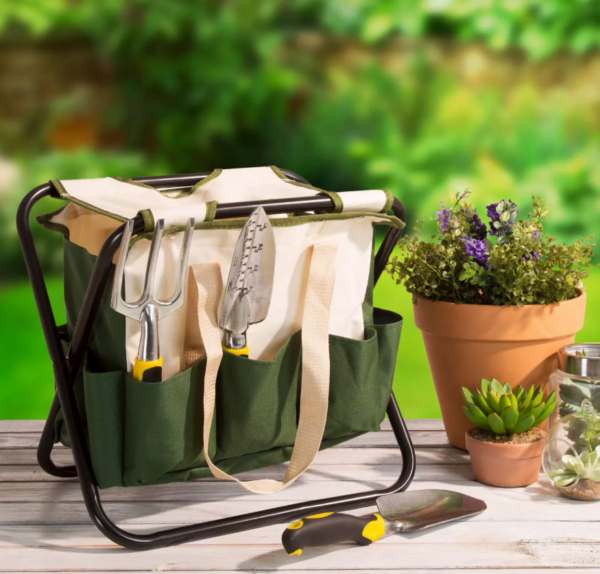 garden stool tool bag and potted plants