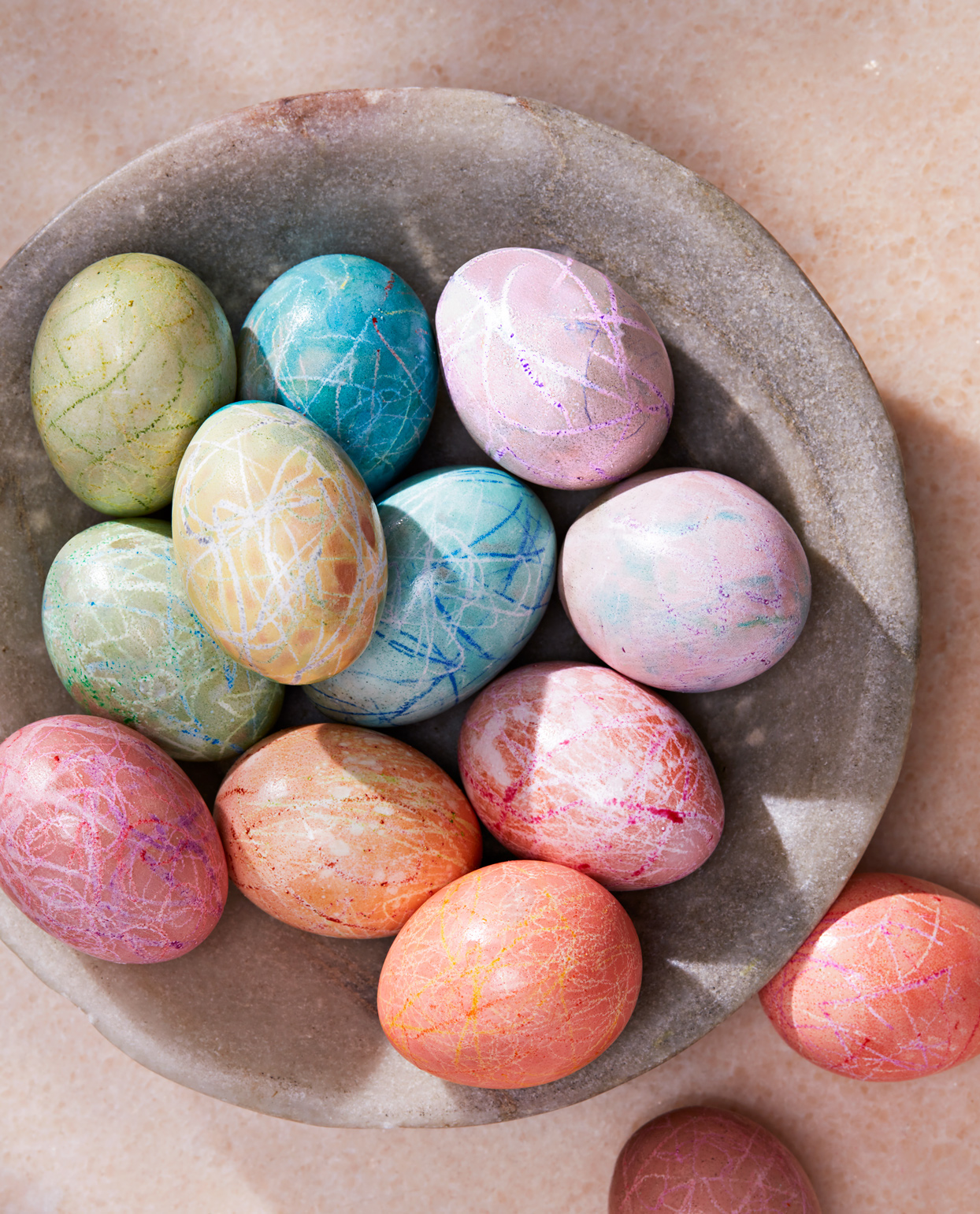 colorful hard-cooked easter eggs
