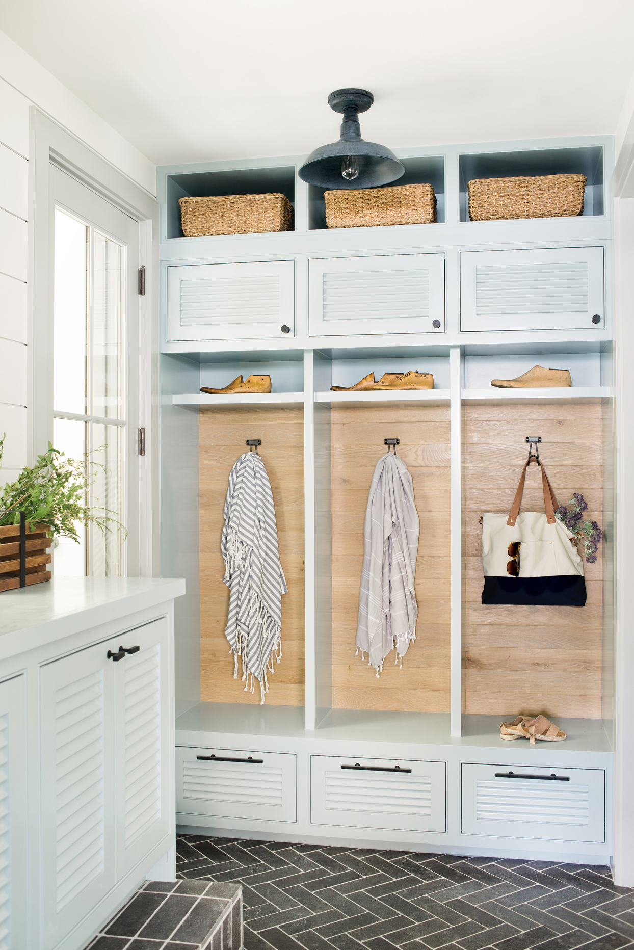 built in cabinet mudroom storage area