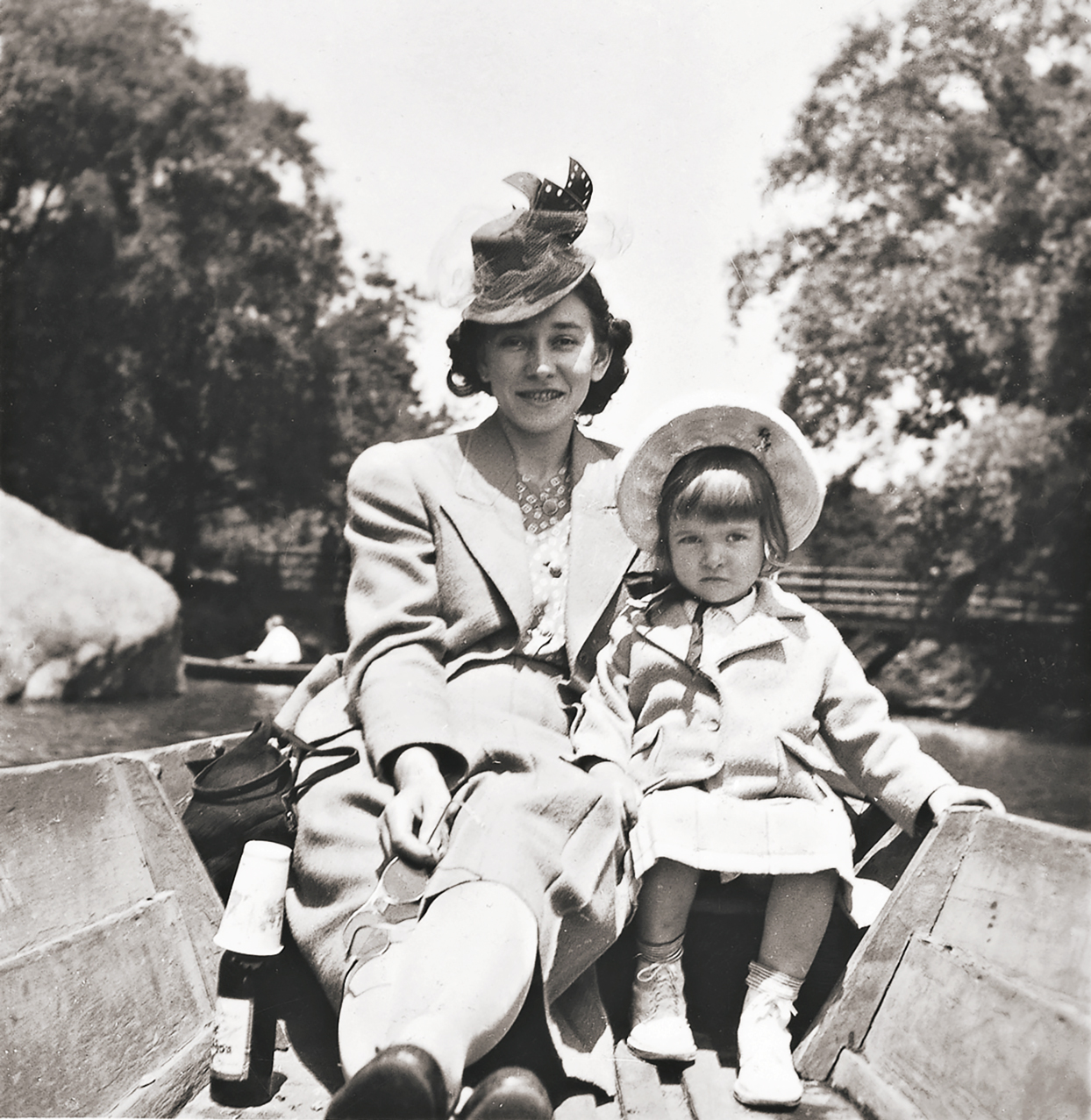 Martha and her mom on a boat in Central Park