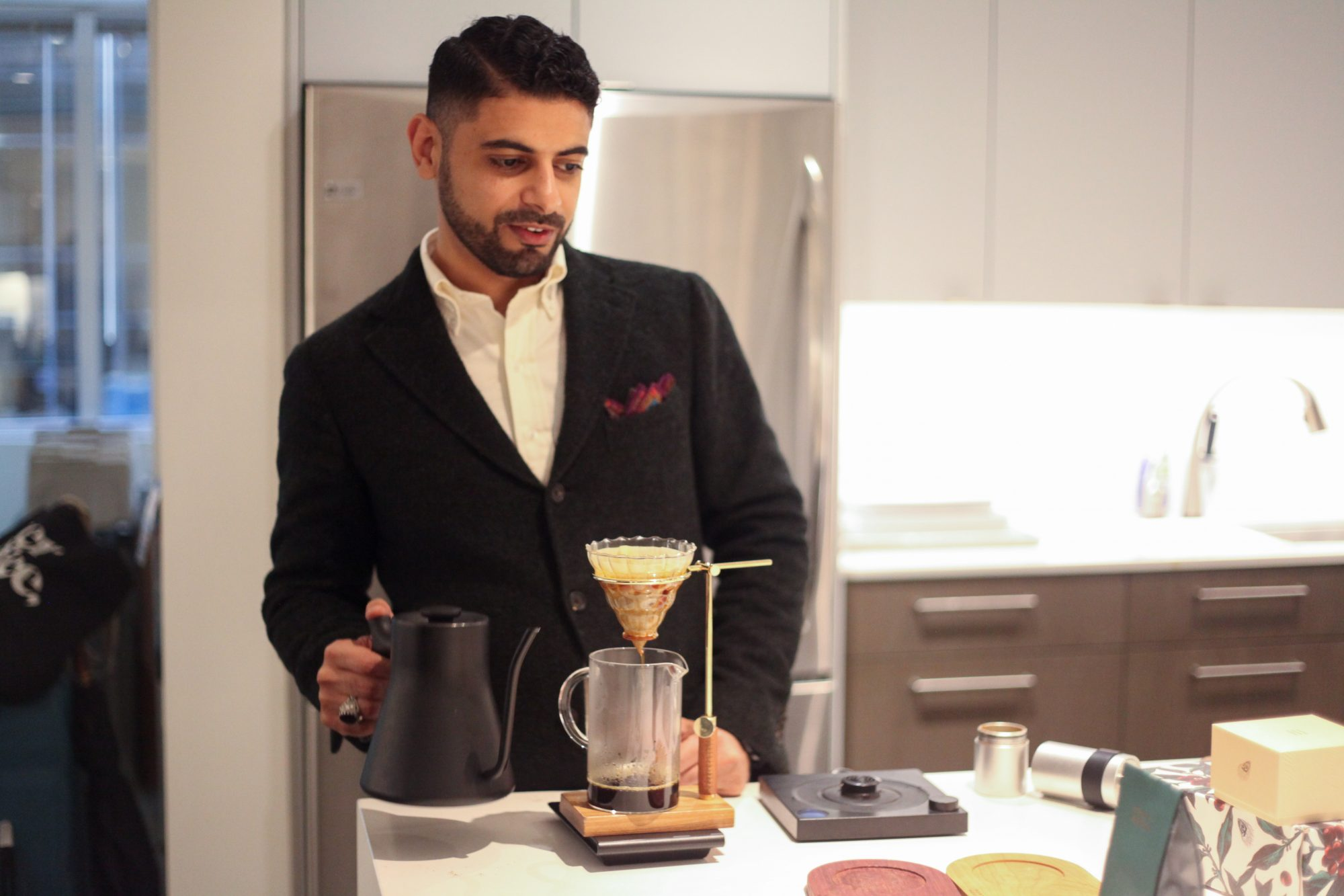 port of mokha founder making coffee in the test kitchen