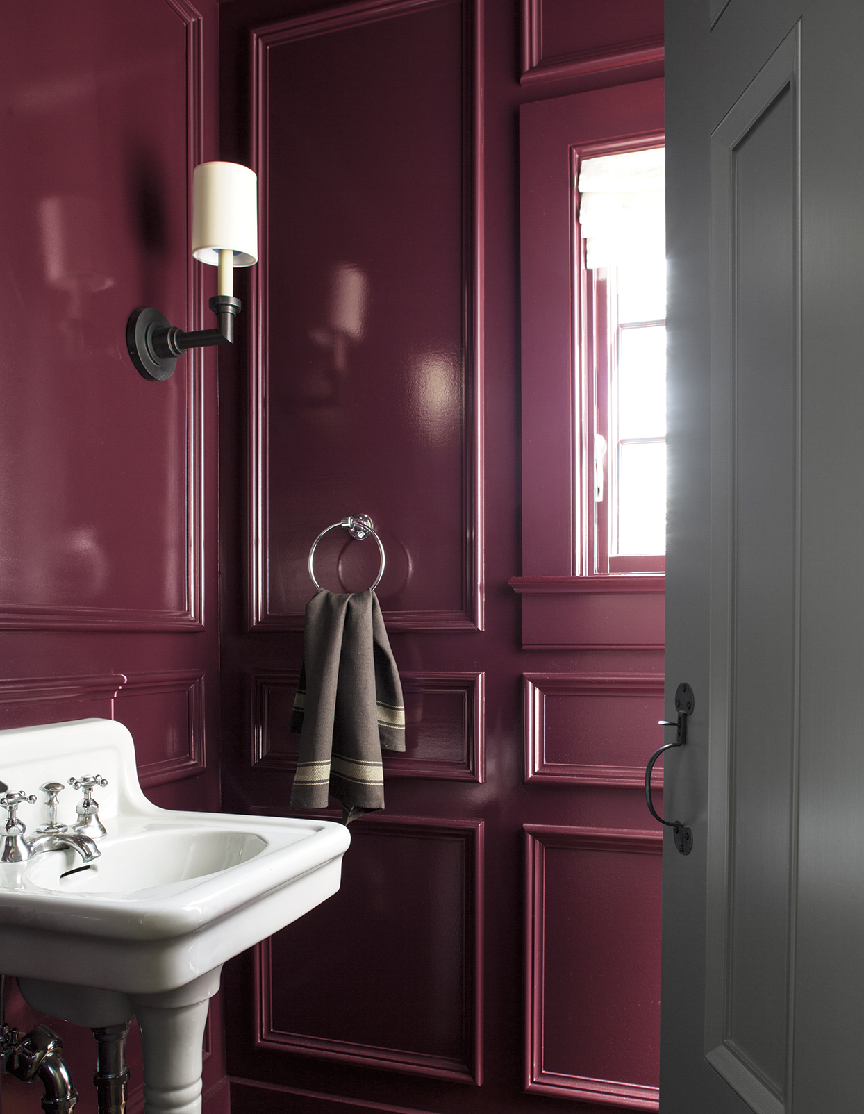 merlot colored bathroom with white and gray accents