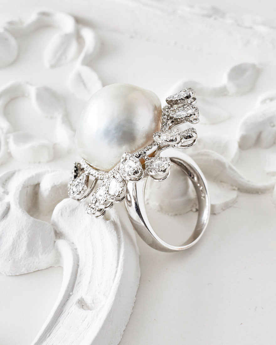 large pearl ring with silver band