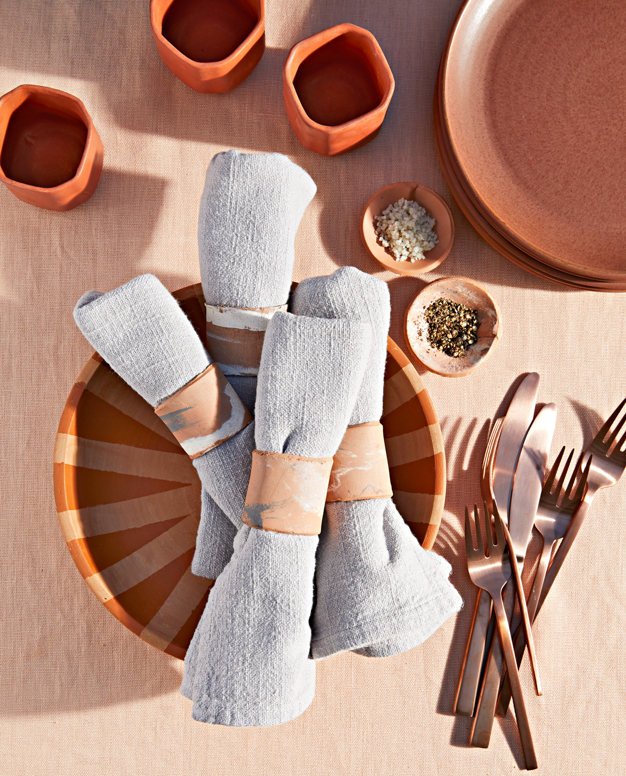 terracotta plates and cups