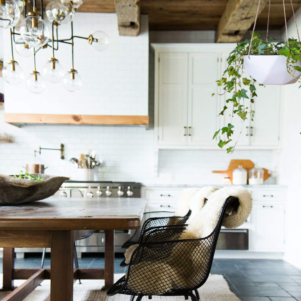 hanging planter in kitchen