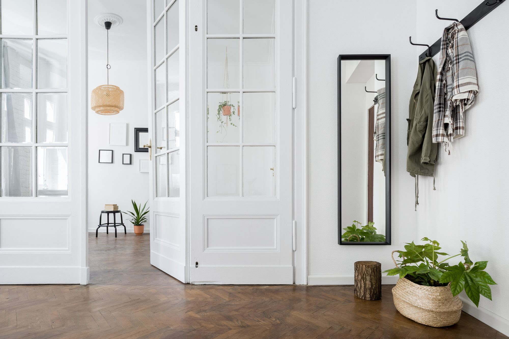 white entryway in home