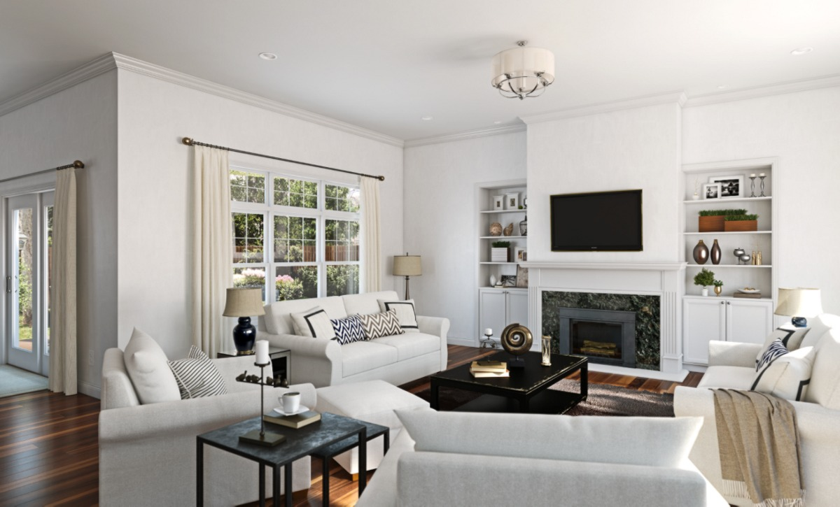 Sherwin Williams Pure White SW7005 painted room