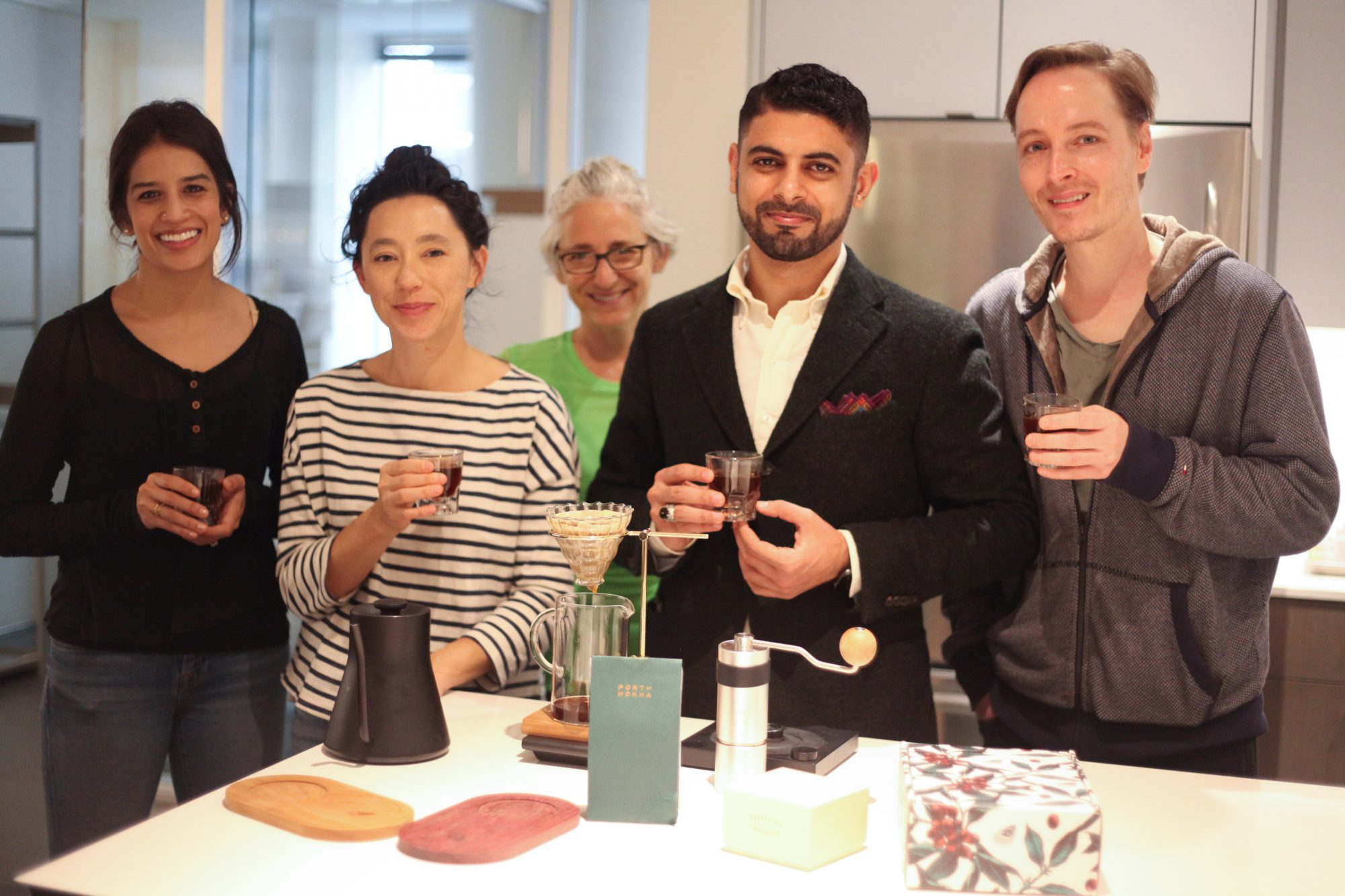 food editors and port of mokha founder in test kitchen