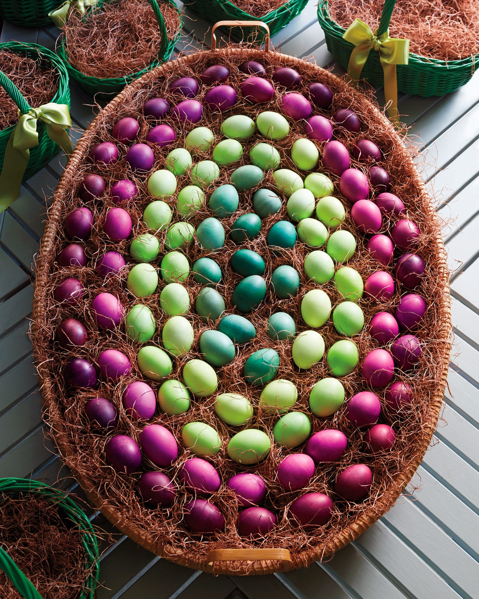 dyed Easter eggs in a large basket