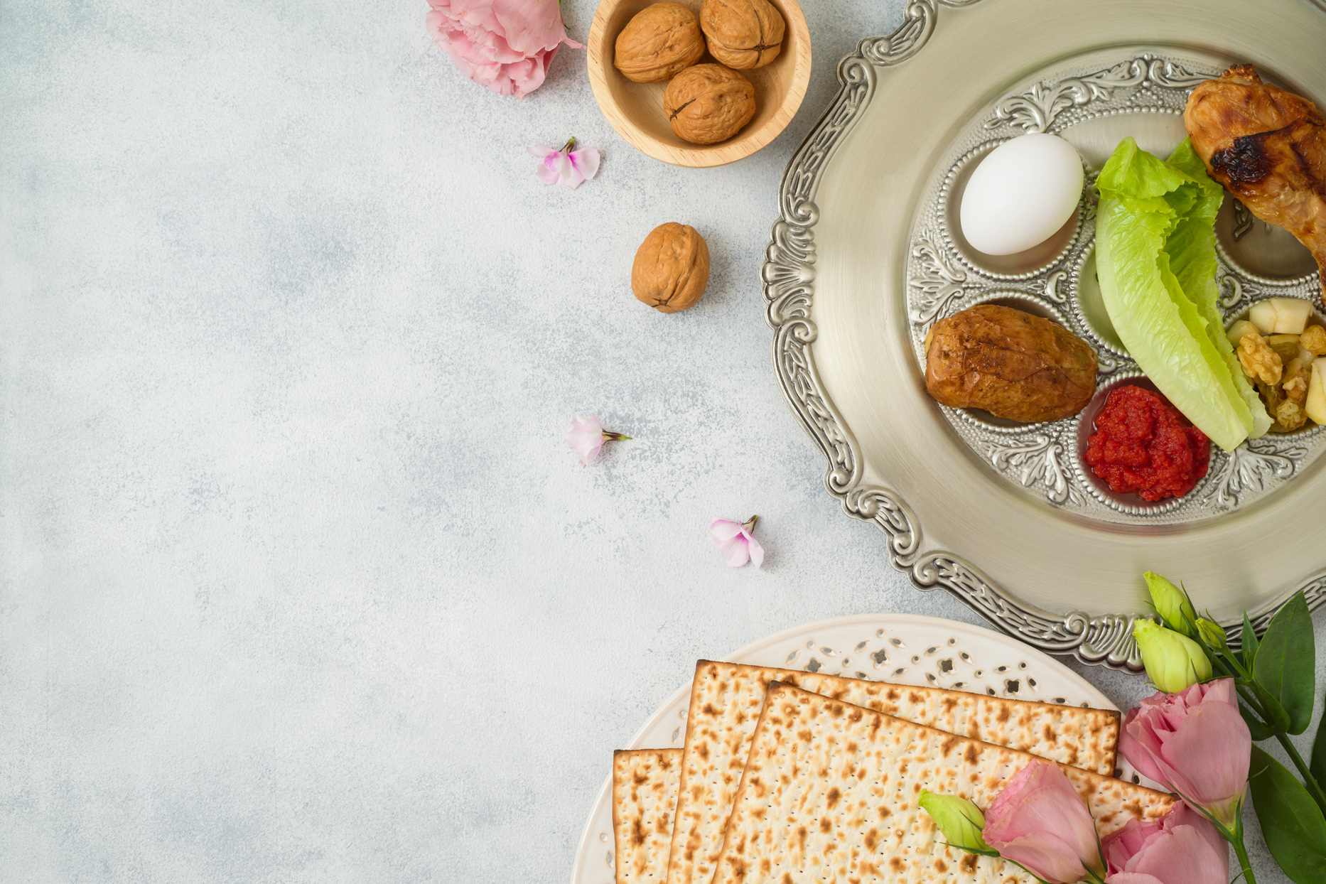 passover seder plate set up