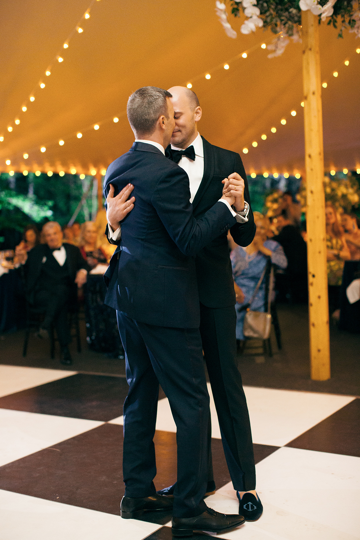 grooms first dance in reception tent