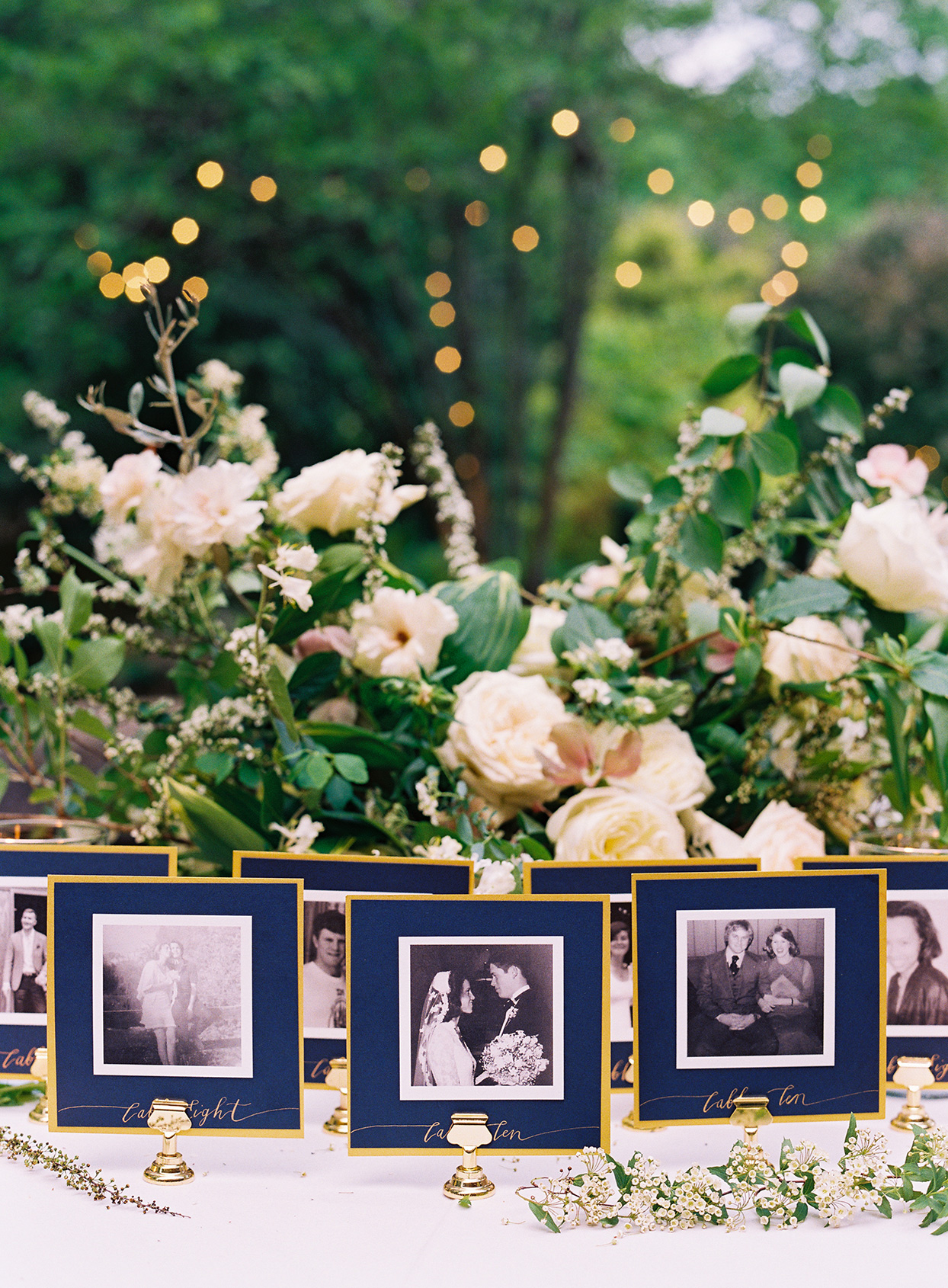 wedding place cards with black and white pictures