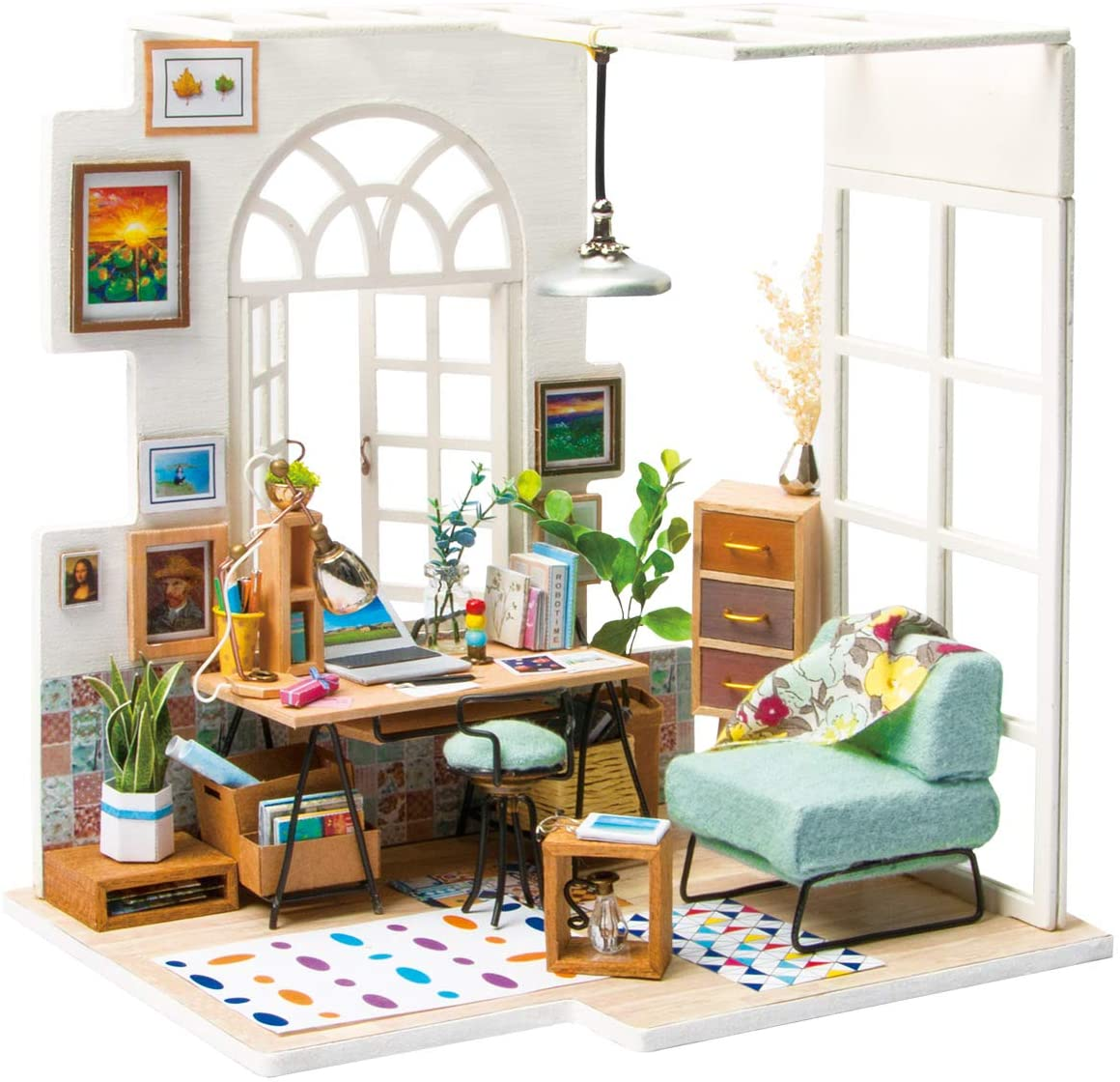 interior of a miniature dollhouse