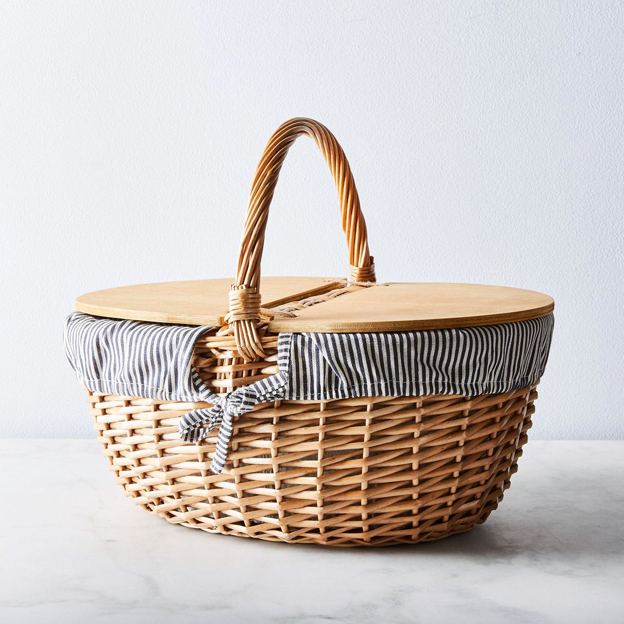 blue and white striped picnic basket