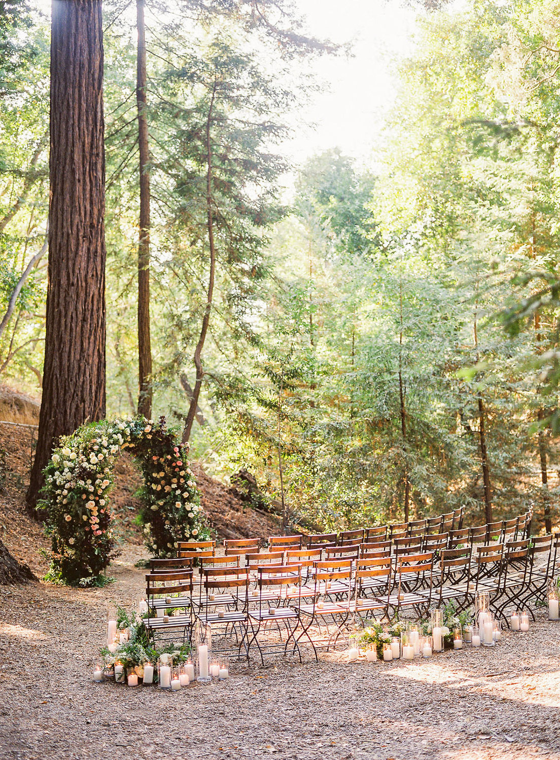 wedding ceremony wooden chairs set up under red woods
