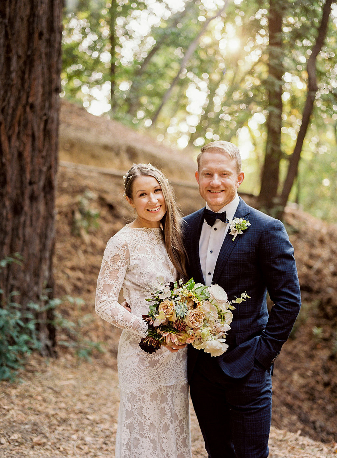 wedding couple portrait under the red woods