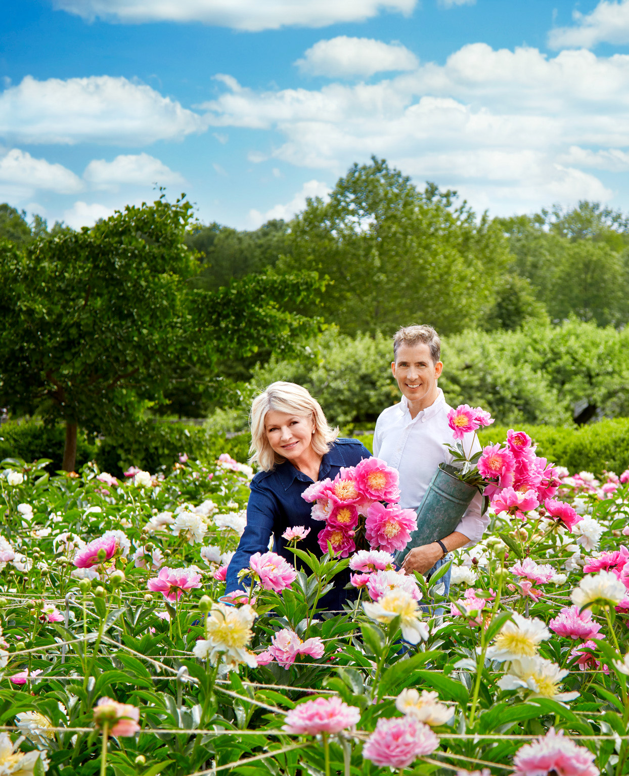 Cut Above Martha Stewart and Kevin Sharkey in a field of flowers