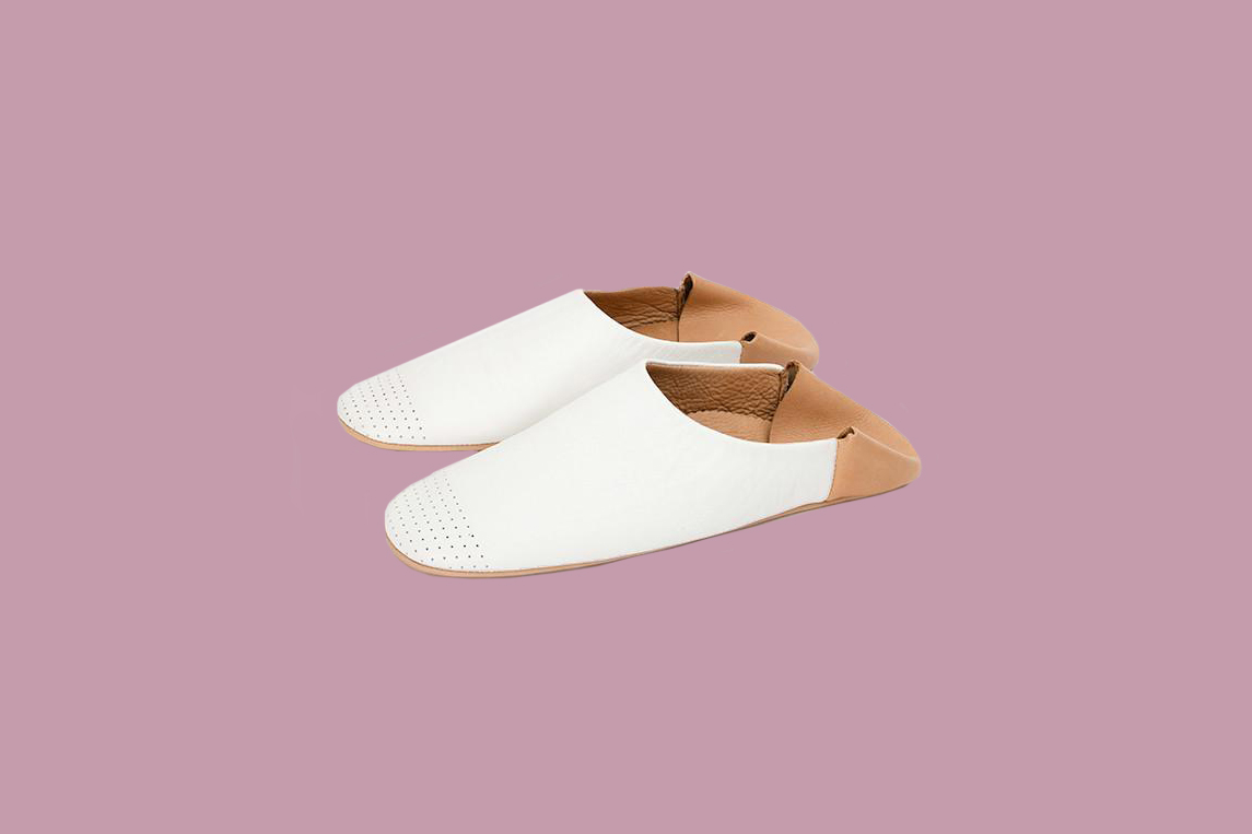 Jill Burrows Indoor Slippers in Bright White and Camel