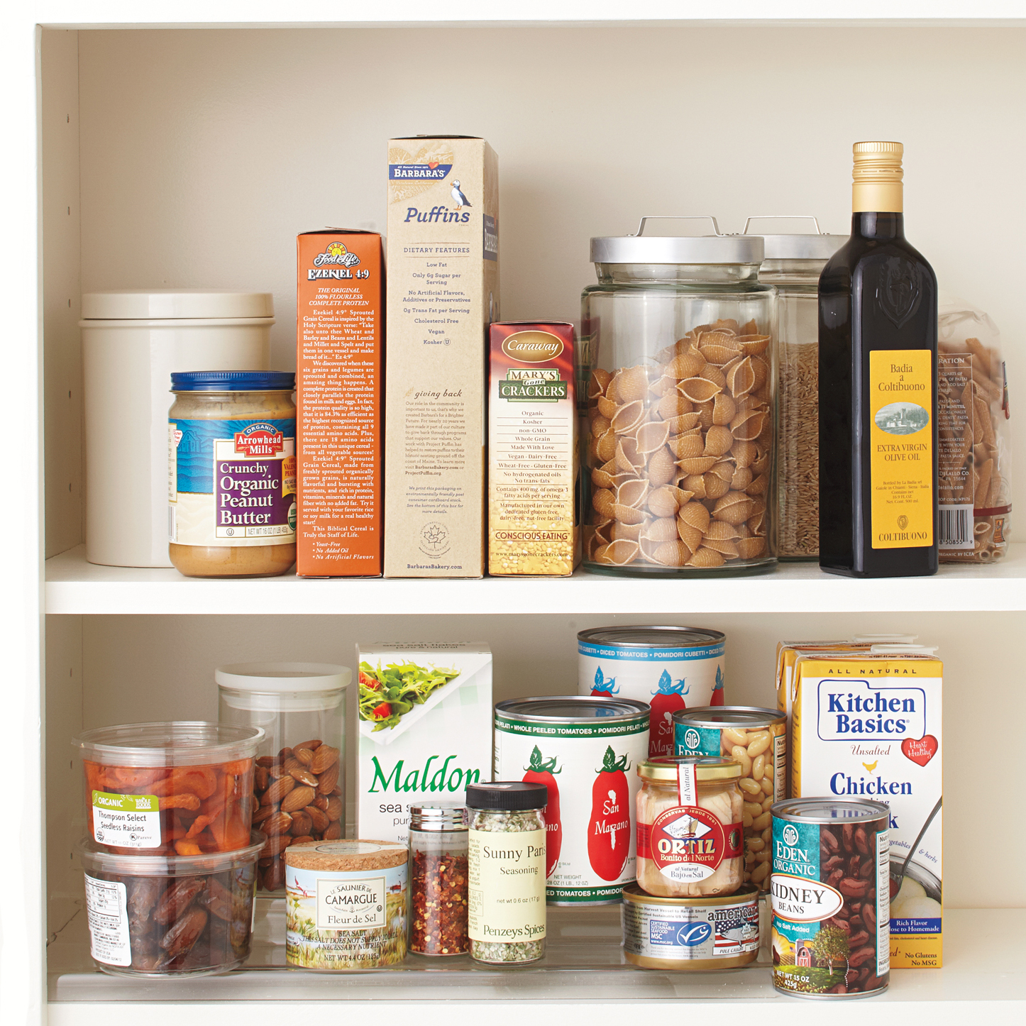 pantry essentials in cupboard