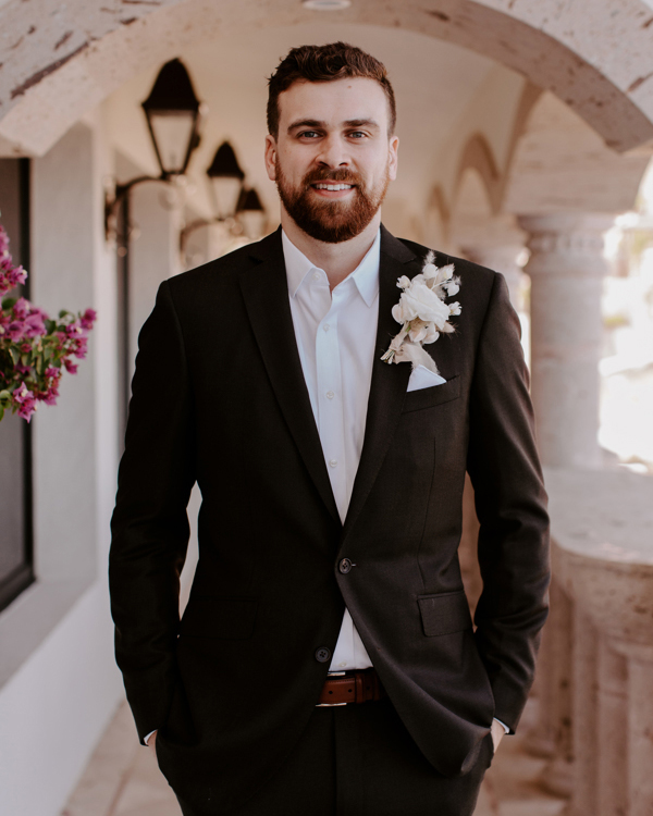 wedding groom in dark brown suit