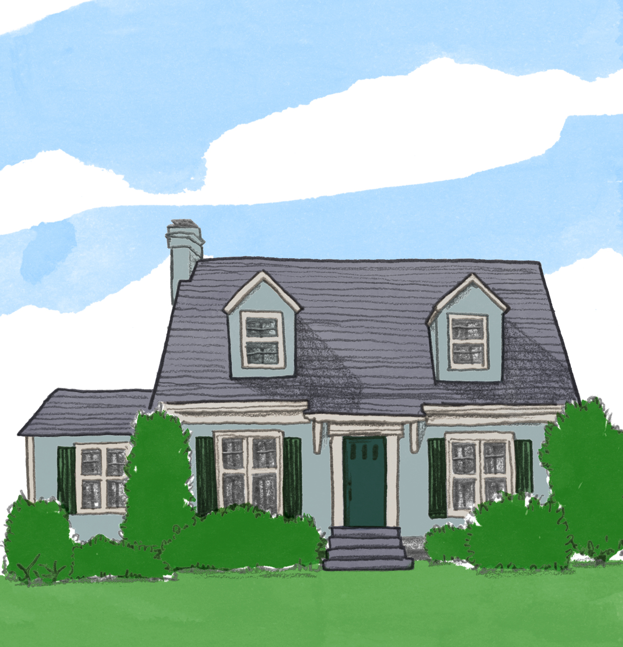 illustration of cape cod style home exterior
