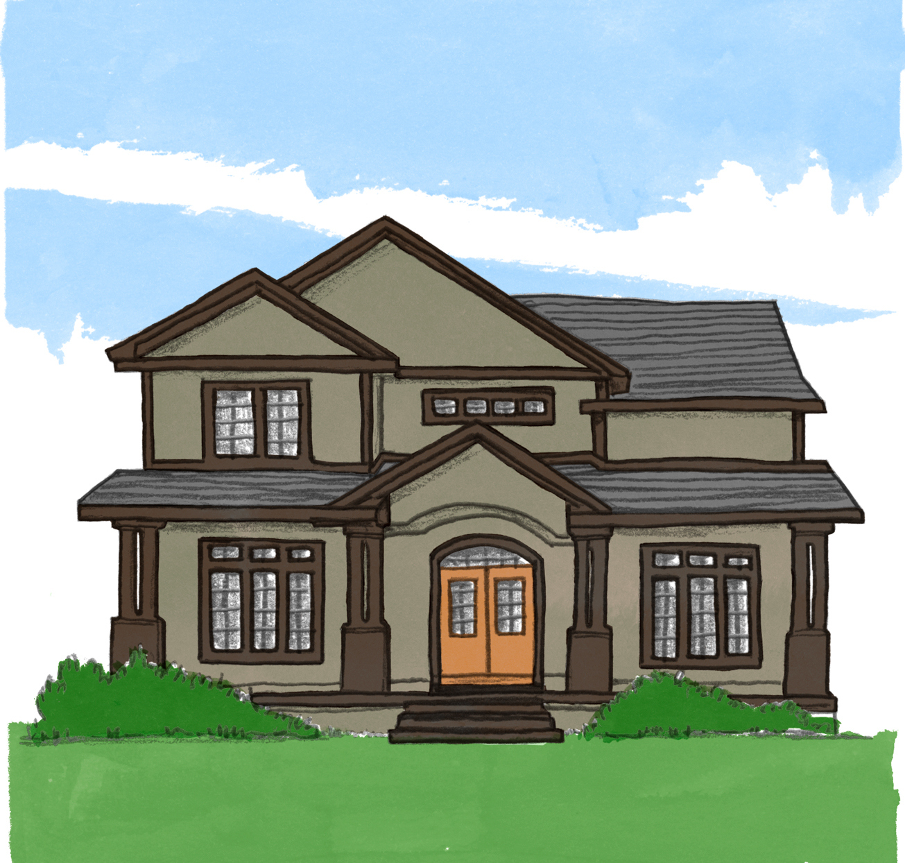 illustration of craftsman style home exterior