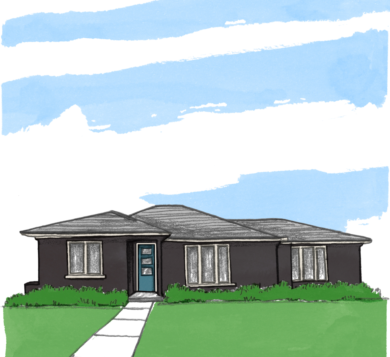 illustration of ranch style home exterior