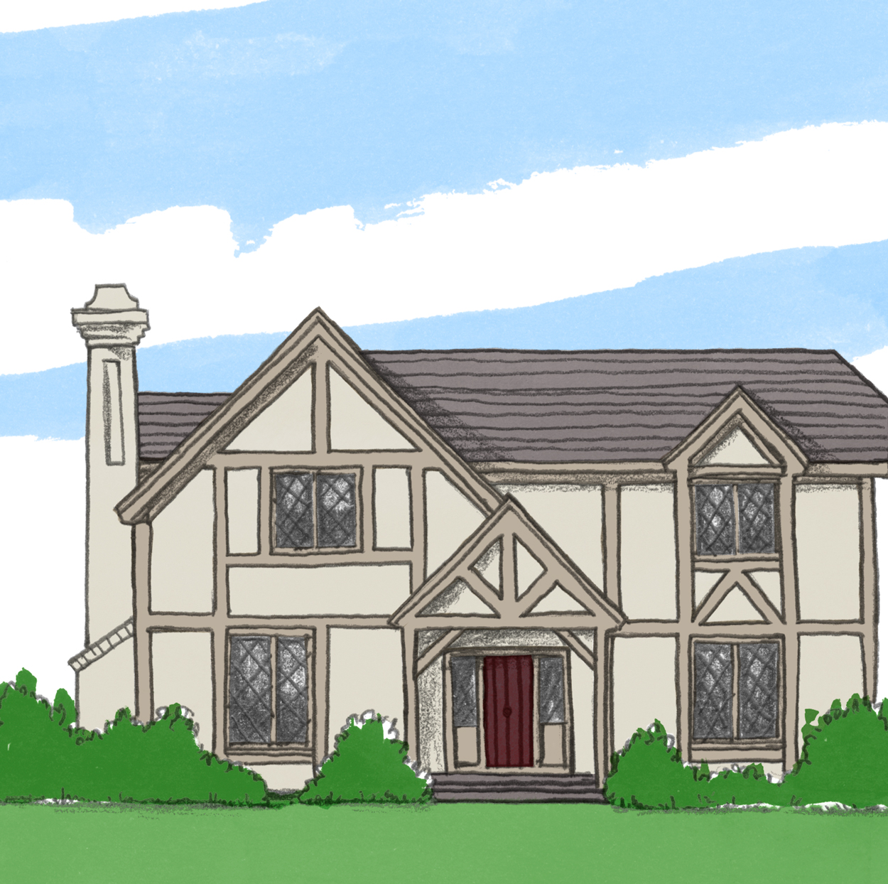 illustration of tudor style home exterior