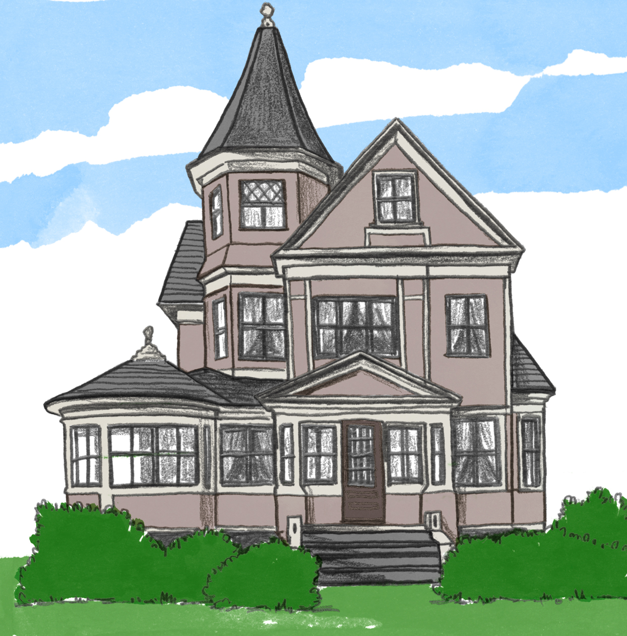 illustration of victorian style home exterior