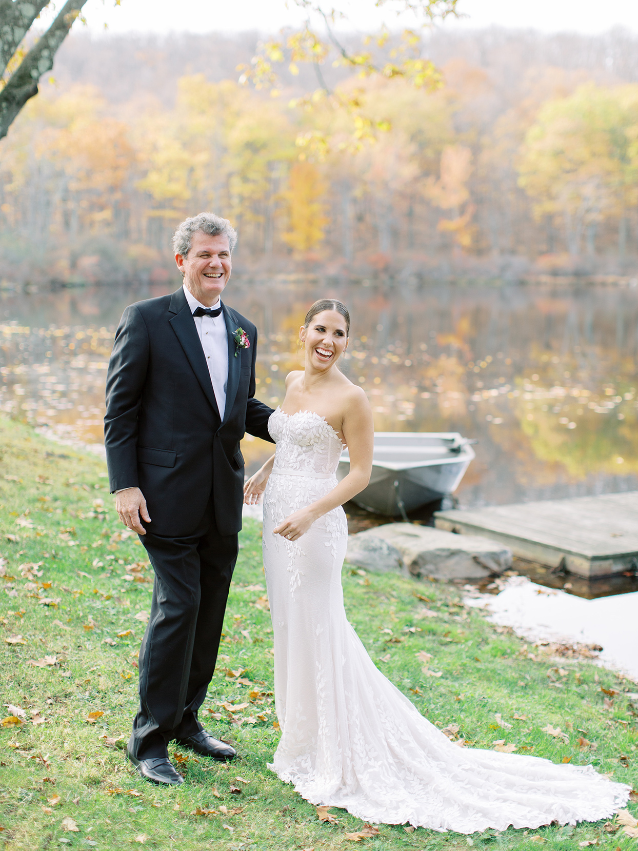 wedding father and bride portrait by water