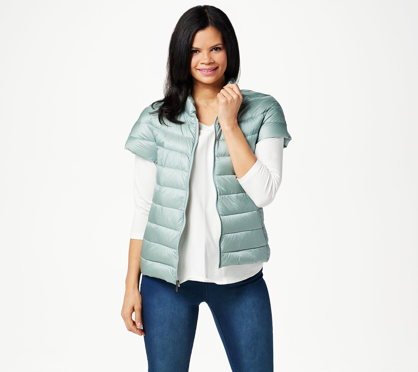 Martha Stewart Quilted Down Short Sleeve Puffer Jacket
