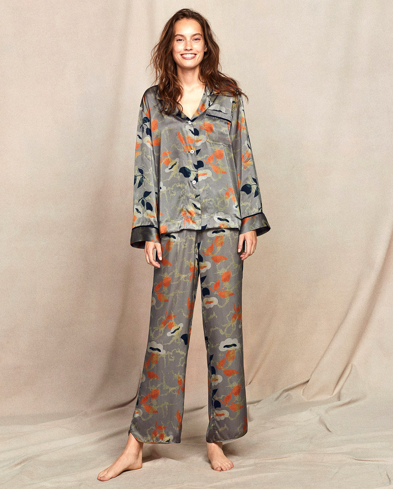 Poetry Printed Silk Satin Pyjamas
